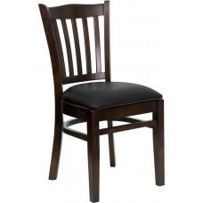 HERCULES Series Vertical Slat Back Walnut Wood Restaurant Chair - Black Vinyl Seat