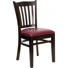 HERCULES Series Vertical Slat Back Walnut Wood Restaurant Chair - Burgundy Vinyl Seat