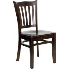 HERCULES Series Vertical Slat Back Walnut Wood Restaurant Chair [XU-DGW0008VRT-WAL-GG]
