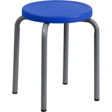 Stackable Stool with Blue Seat and Silver Powder Coated Frame [YK01B-BL-GG]