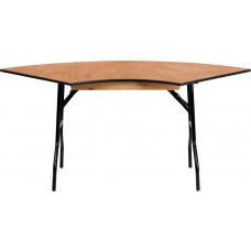 5.5 ft. x 2.5 ft. Serpentine Wood Folding Banquet Table [YT-WSFT48-30-SP-GG]