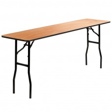 18'' x 72'' Rectangular Wood Folding Training / Seminar Table with Smooth Clear Coated Finished Top
