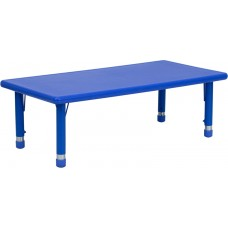 24''W x 48''L Rectangular Blue Plastic Height Adjustable Activity Table [YU-YCX-001-2-RECT-TBL-BLUE-GG]