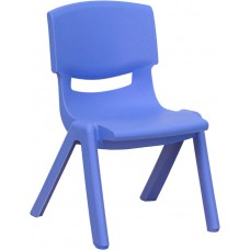Blue Plastic Stackable School Chair with 10.5'' Seat Height [YU-YCX-003-BLUE-GG]