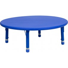 45'' Round Blue Plastic Height Adjustable Activity Table [YU-YCX-005-2-ROUND-TBL-BLUE-GG]