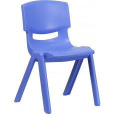 Blue Plastic Stackable School Chair with 15.5'' Seat Height [YU-YCX-005-BLUE-GG]