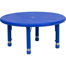 33'' Round Blue Plastic Height Adjustable Activity Table [YU-YCX-007-2-ROUND-TBL-BLUE-GG]