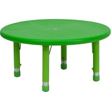 33'' Round Green Plastic Height Adjustable Activity Table [YU-YCX-007-2-ROUND-TBL-GREEN-GG]