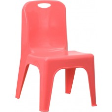 Red Plastic Stackable School Chair with Carrying Handle and 11'' Seat Height [YU-YCX-011-RED-GG]