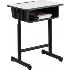 Student Desk with Grey Top and Adjustable Height Black Pedestal Frame [YU-YCY-046-GG]