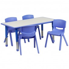 23.625''W x 47.25''L Rectangular Blue Plastic Height Adjustable Activity Table Set with 4 Chairs