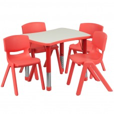 21.875''W x 26.625''L Rectangular Red Plastic Height Adjustable Activity Table Set with 4 Chairs