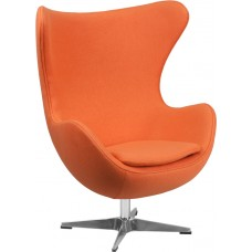 Orange Wool Fabric Egg Chair with Tilt-Lock Mechanism [ZB-17-GG]