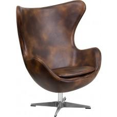 Bomber Jacket Leather Egg Chair with Tilt-Lock Mechanism [ZB-21-GG]