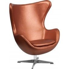 Copper Leather Egg Chair with Tilt-Lock Mechanism [ZB-22-GG]