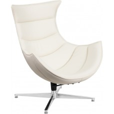 Melrose White Leather Swivel Cocoon Chair [ZB-32-GG]