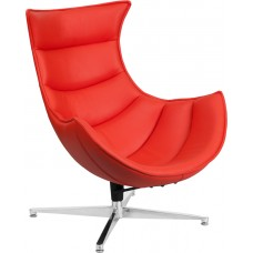 Red Leather Swivel Cocoon Chair [ZB-34-GG]