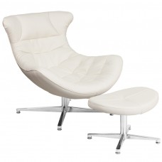 Melrose White Leather Cocoon Chair with Ottoman [ZB-41-COCOON-GG]