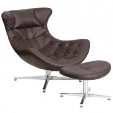 Brown Leather Cocoon Chair with Ottoman [ZB-42-COCOON-GG]