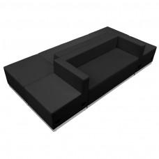 HERCULES Alon Series Black Leather Reception Configuration, 6 Pieces [ZB-803-500-SET-BK-GG]