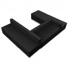 HERCULES Alon Series Black Leather Reception Configuration, 6 Pieces [ZB-803-510-SET-BK-GG]