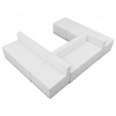 HERCULES Alon Series Melrose White Leather Reception Configuration, 6 Pieces [ZB-803-510-SET-WH-GG]