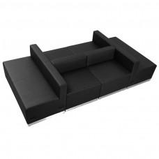 HERCULES Alon Series Black Leather Reception Configuration, 6 Pieces [ZB-803-650-SET-BK-GG]
