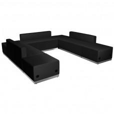 HERCULES Alon Series Black Leather Reception Configuration, 7 Pieces [ZB-803-660-SET-BK-GG]