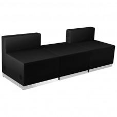 HERCULES Alon Series Black Leather Reception Configuration, 3 Pieces [ZB-803-670-SET-BK-GG]