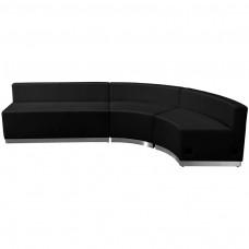 HERCULES Alon Series Black Leather Reception Configuration, 3 Pieces [ZB-803-750-SET-BK-GG]