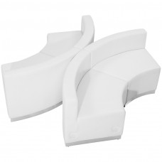 HERCULES Alon Series Melrose White Leather Reception Configuration, 4 Pieces [ZB-803-840-SET-WH-GG]