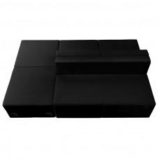 HERCULES Alon Series Black Leather Reception Configuration, 4 Pieces [ZB-803-880-SET-BK-GG]