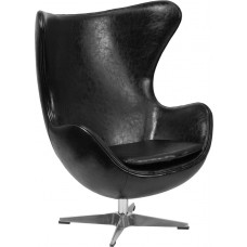 Black Leather Egg Chair with Tilt-Lock Mechanism [ZB-9-GG]
