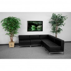 HERCULES Imagination Series Black Leather Sectional Configuration, 5 Pieces [ZB-IMAG-SECT-SET5-GG]
