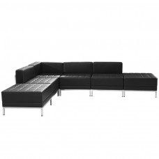HERCULES Imagination Series Black Leather Sectional Configuration, 6 Pieces [ZB-IMAG-SECT-SET8-GG]
