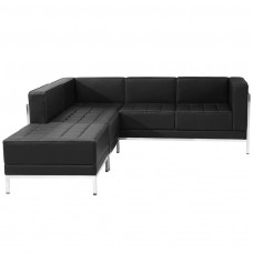 HERCULES Imagination Series Black Leather Sectional Configuration, 3 Pieces [ZB-IMAG-SECT-SET9-GG]