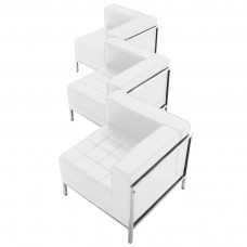 HERCULES Imagination Series Melrose White Leather 3 Piece Corner Chair Set [ZB-IMAG-SET4-WH-GG]