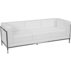HERCULES Imagination Series Contemporary Melrose White Leather Sofa with Encasing Frame