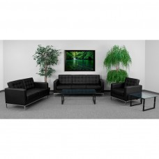 HERCULES Lacey Series Reception Set in Black [ZB-LACEY-831-2-SET-BK-GG]
