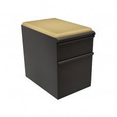 """Mobile Ped with Seat, Box/File, Dark Neutral 23""""D, Forsythia Fabric"""