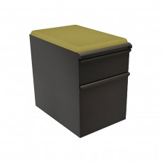 """Mobile Ped with Seat, Box/File, Dark Neutral 23""""D, Fennel Fabric"""