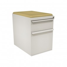 """Mobile Ped with Seat, Box/File, Featherstonel 23""""D, Forsythia Fabric"""