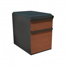 """Mobile Ped with Seat, Box/File, Dark Neutral, Collectors Cherry Fronts, 23""""D, Iris Fabric"""