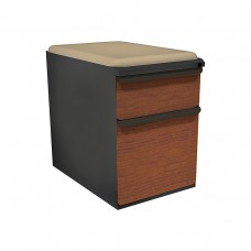 """Mobile Ped with Seat, Box/File, Dark Neutral, Collectors Cherry Fronts, 23""""D, Flax Fabric"""