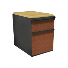 """Mobile Ped with Seat, Box/File, Dark Neutral, Collectors Cherry Fronts, 23""""D, Forsythia Fabric"""
