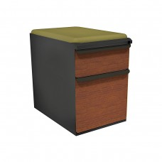 """Mobile Ped with Seat, Box/File, Dark Neutral, Collectors Cherry Fronts, 23""""D, Fennel Fabric"""