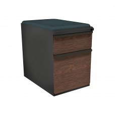 """Mobile Ped with Seat, Box/File, Dark Neutral, Figured Mahogany Fronts, 23""""D, Iris Fabric"""