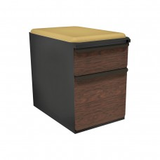 """Mobile Ped with Seat, Box/File, Dark Neutral, Figured Mahogany Fronts, 23""""D, Forsythia Fabric"""