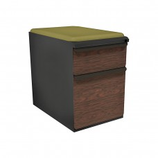 """Mobile Ped with Seat, Box/File, Dark Neutral, Figured Mahogany Fronts, 23""""D, Fennel Fabric"""