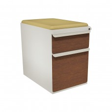 """Mobile Ped with Seat, Box/File, Featherstone, Collectors Cherry Fronts, 23""""D, Forsythia Fabric"""